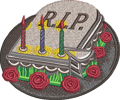 Embroidery Design: RIP Cake Med 4.84w X 4.02h
