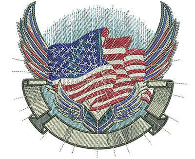 Embroidery Design: Flag Crest Lg 4.94w X 4.47h
