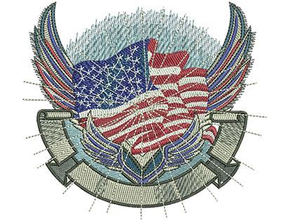 Embroidery Design: Flag Crest Med 4.44w X 4.02h