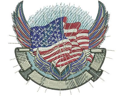 Embroidery Design: Flag Crest Sm 3.94w X 3.56h