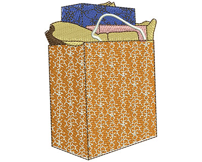 Embroidery Design: Shopping Bag Lg 2.47w X 3.50h