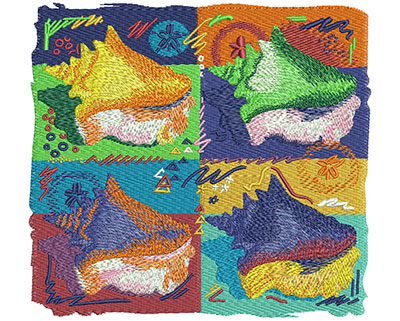 Embroidery Design: Warhol Conch Shells Sm 6.01w X 5.52h