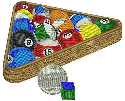 Embroidery Design: Pool Balls & Rack Lg 4.54w X 5.51h