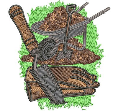 Embroidery Design: Wheelbarrow and Tools Lg 4.27w X 4.57h