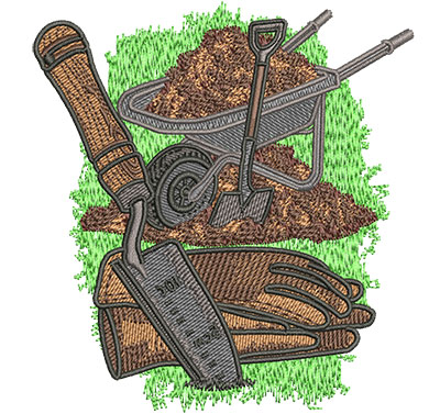 Embroidery Design: Wheelbarrow and Tools Med 3.80w X 4.11h