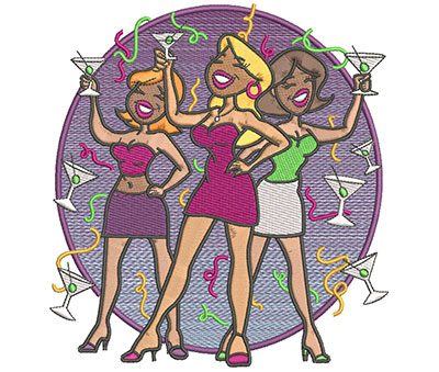 Embroidery Design: Party Girls Lg  5.90w X 5.93h