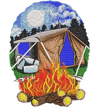 Embroidery Design: Camp Scene At Night Lg 4.61w X 5.97h