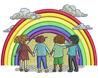 Embroidery Design: Rainbow Kids Lg 4.00w X 2.87h