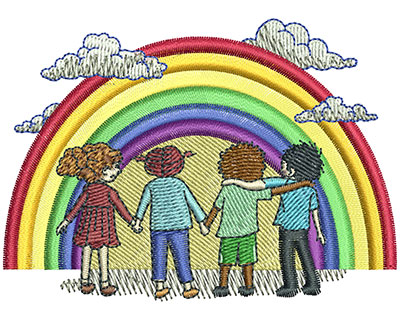 Embroidery Design: Rainbow Kids Med 3.48w X 2.50h
