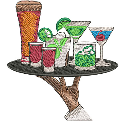 Embroidery Design: Drink Tray Lg 4.45w X 4.79h