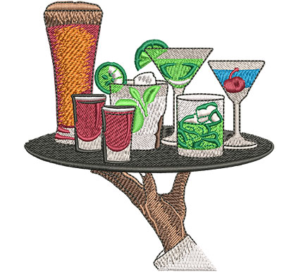 Embroidery Design: Drink Tray Med 3.99w X 4.29h
