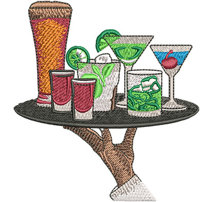Embroidery Design: Drink Tray Sm 3.52w X 3.79h