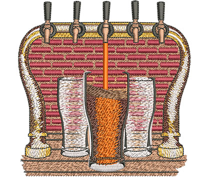 Embroidery Design: Beer and Tap Lg 4.51w X 4.61h