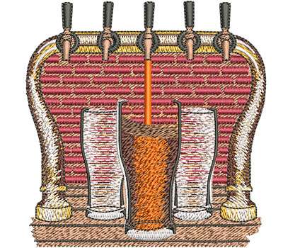 Embroidery Design: Beer and Tap Med 4.02w X 4.11h