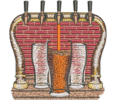 Embroidery Design: Beer and Tap Sm 3.53w X 3.61h