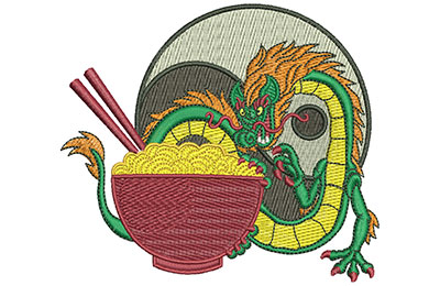 Embroidery Design: Dragon And Noodles Lg 4.49w X 3.92h