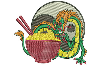 Embroidery Design: Dragon And Noodles Med 3.99w X 3.49h
