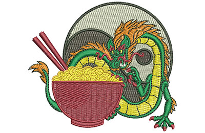 Embroidery Design: Dragon And Noodles Sm 3.49w X 3.05h