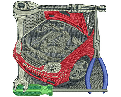Embroidery Design: Under The Hood Lg 4.52w X 4.50h