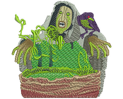 Embroidery Design: Cauldron Witch Lg 3.51w X 3.40h