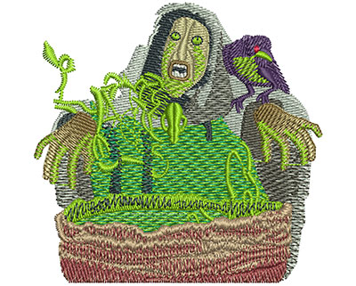 Embroidery Design: Cauldron Witch Med 3.00w X 2.91h