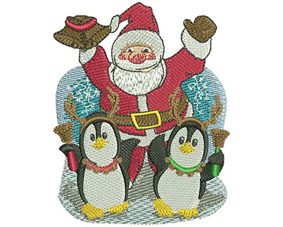 Embroidery Design: Penguin Dance Sm 2.76w X 3.49h