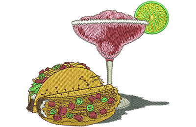 Embroidery Design: Margarita Time Lg 4.39w X 3.89h