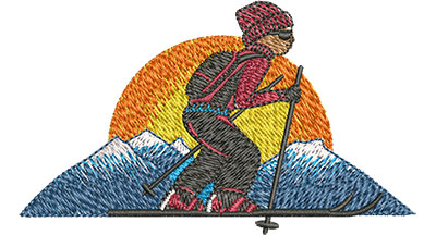 Embroidery Design: Cross Country Skiing Lg 3.50w X 2.07h