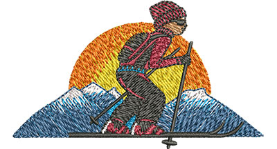 Embroidery Design: Cross Country Skiing Med 3.00w X 1.77h