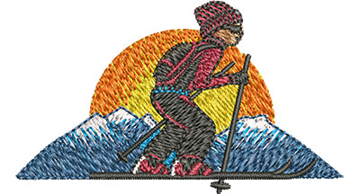 Embroidery Design: Cross Country Skiing Sm 2.51w X 1.48h