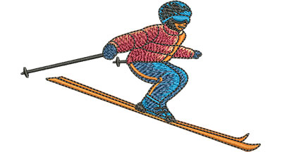 Embroidery Design: Skiing Med 4.00w X 2.53h