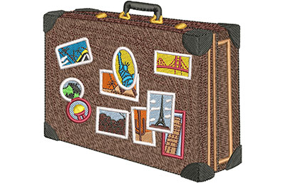 Embroidery Design: Around The World Suitcase Med 4.39w X 4.03h