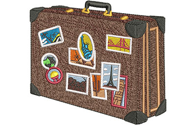 Embroidery Design: Around The World Suitcase Sm 3.89w X 3.57h