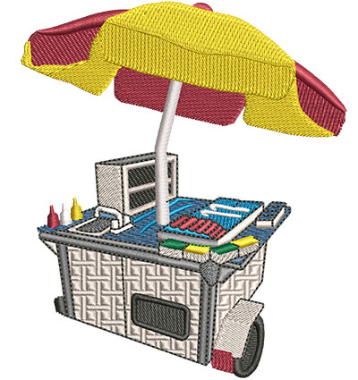 Embroidery Design: Hot Dog Cart Med 3.88w X 4.49h
