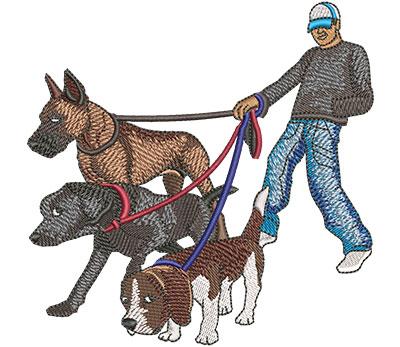 Embroidery Design: Male Dog Walker Lg 4.53w X 4.51h