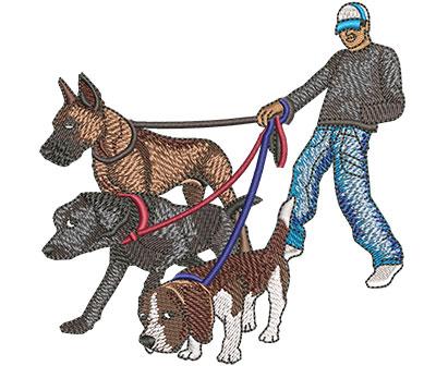 Embroidery Design: Male Dog Walker Med 4.03w X 4.02h