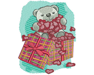 Embroidery Design: Teddy Bear With Hearts Lg 4.33w X 5.52h