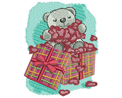 Embroidery Design: Teddy Bear With Hearts Med 3.49w X 4.45h