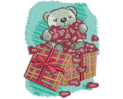 Embroidery Design: Teddy Bear With Hearts Sm2.76w X 3.52h