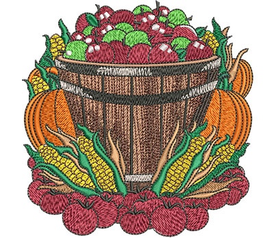 Embroidery Design: Farmers Market Basket Lg 4.50w X 4.59h