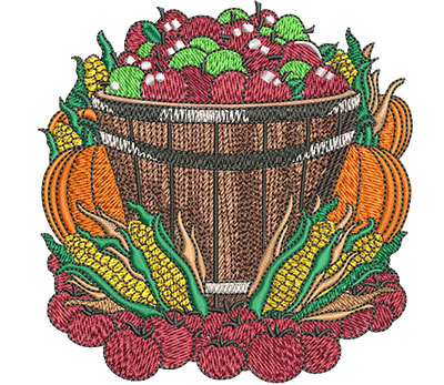 Embroidery Design: Farmers Market Basket Med 4.01w X 4.09h
