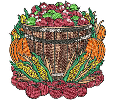 Embroidery Design: Farmers Market Basket Sm 3.52w X 3.59h