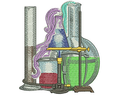 Embroidery Design: School Science Club Beakers Lg 3.46w X 4.01h