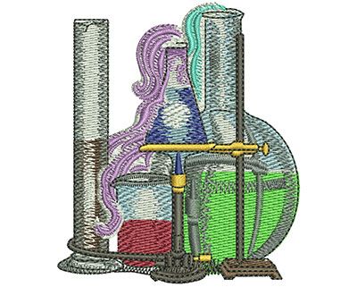 Embroidery Design: School Science Club Beakers Sm 2.60w X 3.01h