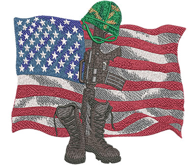 Embroidery Design: Memorial Day Boots And Rifle Lg 5.99w X 5.60h