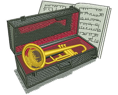 Embroidery Design: Trumpet And Case Lg 3.76w X 3.34h