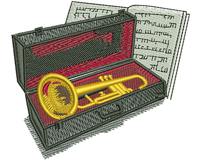 Embroidery Design: Trumpet And Case Med 3.27w X 2.90h