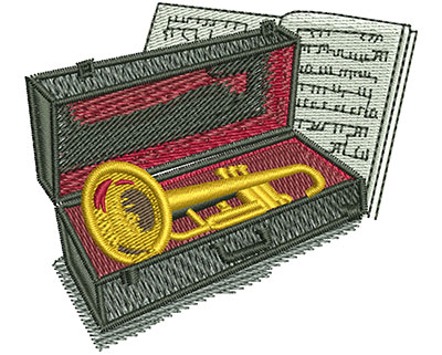 Embroidery Design: Trumpet And Case Sm 2.76w X 2.45h