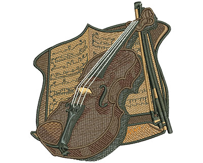 Embroidery Design: Violin and Sheet Music Lg 4.01w X 4.50h