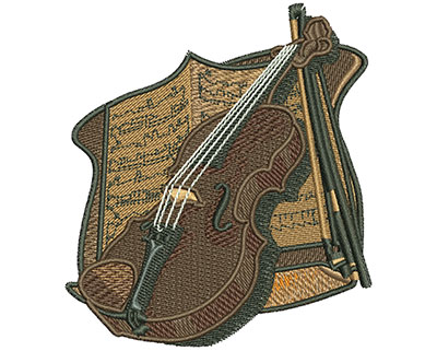 Embroidery Design: Violin and Sheet Music Sm 3.12w X 3.50h